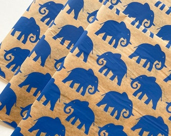 ELEPHANTS tissue paper sheets gift present wrapping craft supply retail packaging tan blue pattern Safari print engagement idea India Africa