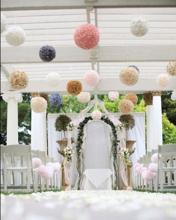 Custom Colors 5 Tissue Paper Pompoms Wedding Ceremony Arch Arbor