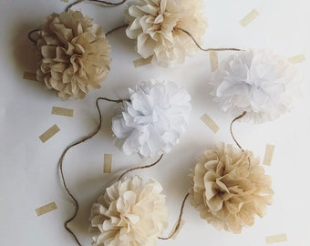 NEUTRAL pompom garland kit natural tan beige rustic barn theme wedding aisle mark decorations twin nursery gender reveal baby bridal shower