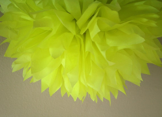 NEON YELLOW Tissue Paper Pompom Teen 80s 90s Fluorescent Birthday