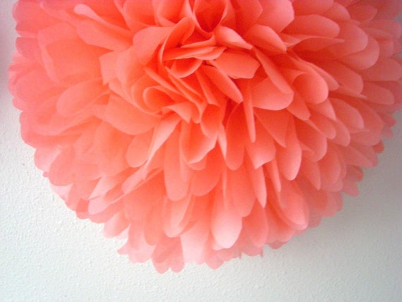 Coral Tissue Paper Pompom Salmon Pink Wedding Decorations Baby Etsy