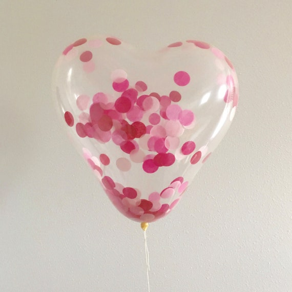 Heart Confetti Balloon 16 Inch Valentines Day Hot Pink Blush Etsy