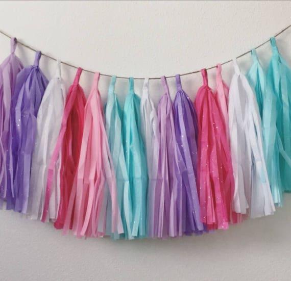 GLITTER UNICORN Paper Tassel Garland Baby Shower Pink Purple