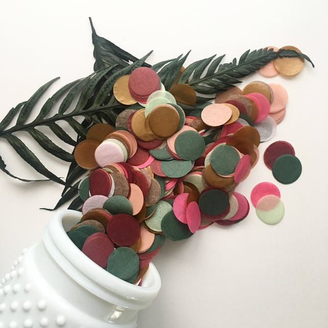 FALL IN LOVE / tissue paper confetti holiday table decor vintage rustic romantic autumn wedding flower girl petals balloon wedding exit toss