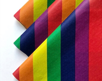 RAINBOW STRIPES tissue paper sheets / gift present wrapping craft supply retail store packaging diy lgbtq pride roygbiv birthday party decor