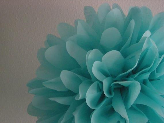 Aqua Tissue Paper Pompom Blue Green Wedding Decorations