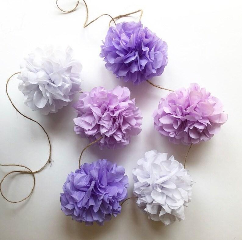 PALE PURPLES mini pompom garland girl baby bridal shower prop image 0