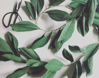 GREENERY GARLAND evergreen vine arbor arch vows wedding aisle marker decoration reusable paper leaves boho minimalist neutral woodland prop