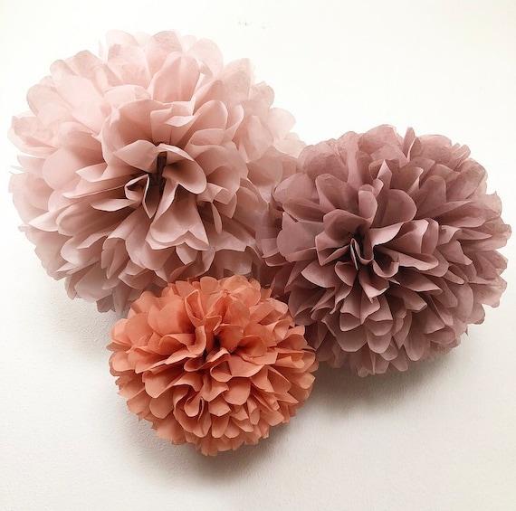 f18a041084c55 ROSÉ TRIO tissue paper flower pompoms kit dusty mauve pink peach ...