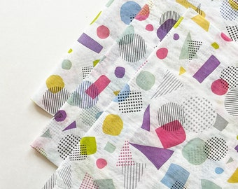 TOTALLY TUBULAR tissue paper sheets gift present wrapping craft supply retail store packaging 80s 90s pattern geometric abstract fun shapes