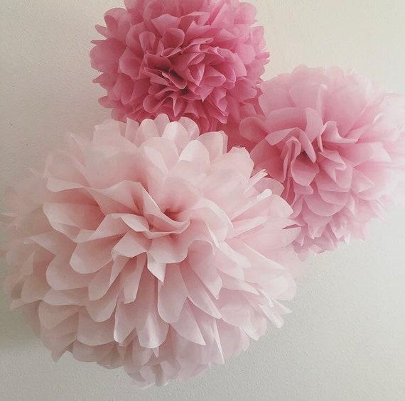 a3f0afd9d33e9 BLUSHING 3 tissue paper flower pompoms kit blush pink bubblegum ...