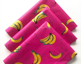 GONE BANANAS tissue paper sheets / gift present wrapping craft supply retail store packaging diy hot pink retro housewarming bachelorette
