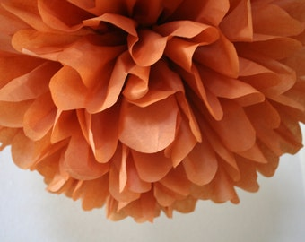 RUST tissue paper pompom / rustic barn fall wedding ceremony  aisle marker decorations / paper flower centerpiece burnt orange baby shower