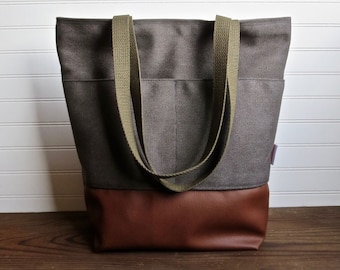 764f3cbb39 Gray Canvas Tote Bag. sweettangerinestudio