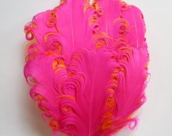 Feather Pad Nagorie BAYLEE - 1 Fuchsia Pink on Orange Curled Goose Feather Pad