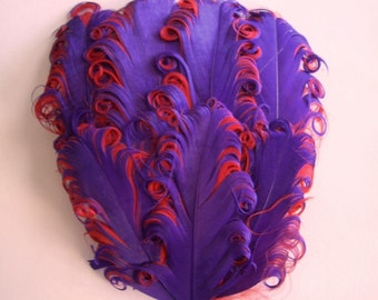 Feather Pad - Purple on Red Curled Goose Nagorie Feather Pad - Curled Goose Feathers