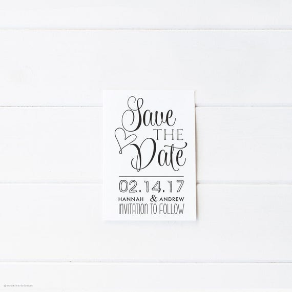 Save The Date Stamp Wedding Invitation Stamp Custom Etsy