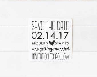 Custom Wedding Stamp   Save the Date Stamp   Custom Rubber Stamp   Custom Stamp   Personalized Stamp   Modern Save the Date   D12