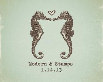 Wedding Stamp   Custom Wedding Stamp   Custom Rubber Stamp   Custom Stamp   Personalized Stamp   Vintage   Seahorse in Love Stamp   V10