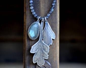 Sterling Silver Labradorite Necklace, Labradorite Gemstone Necklace, Leaf Necklace, Labradorite Charm Necklace, Beaded Necklace