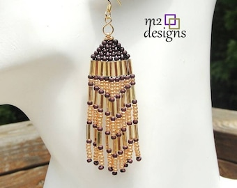 Burgundy and Gold Long Chevron Pattern Beaded Fringe Woven Dangle Earrings, Unique Handmade Jewelry for Women by m2designs, Trendy Gift Idea