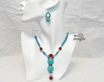 Turquoise and Dark Red Beaded Necklace and Drop Earrings Matching Jewelry Set, Unique Trendy Handmade Gift for Women by m2designs