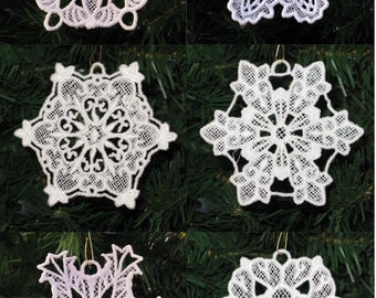 Set of 6 Lace Embroidery Snowflakes