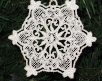 Embroidered Hearts Snowflake Lace