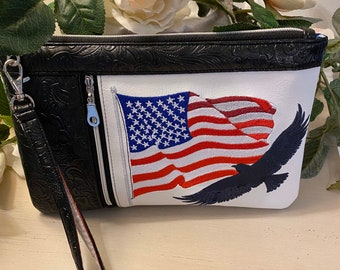 Embroidered USA Zippy Clutch