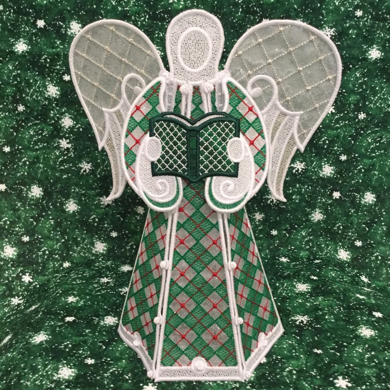 Sparkling Red & Green Diamond Lace Angel Tree Topper image 0
