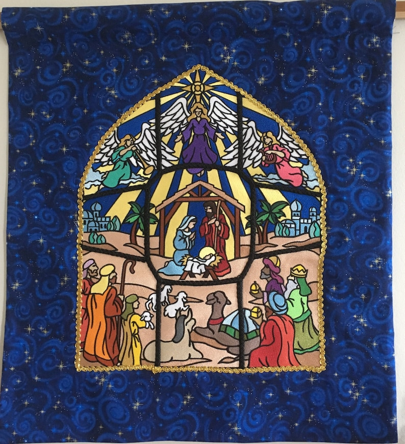 Embroidered Stained Glass Nativity Wall Hanging image 0
