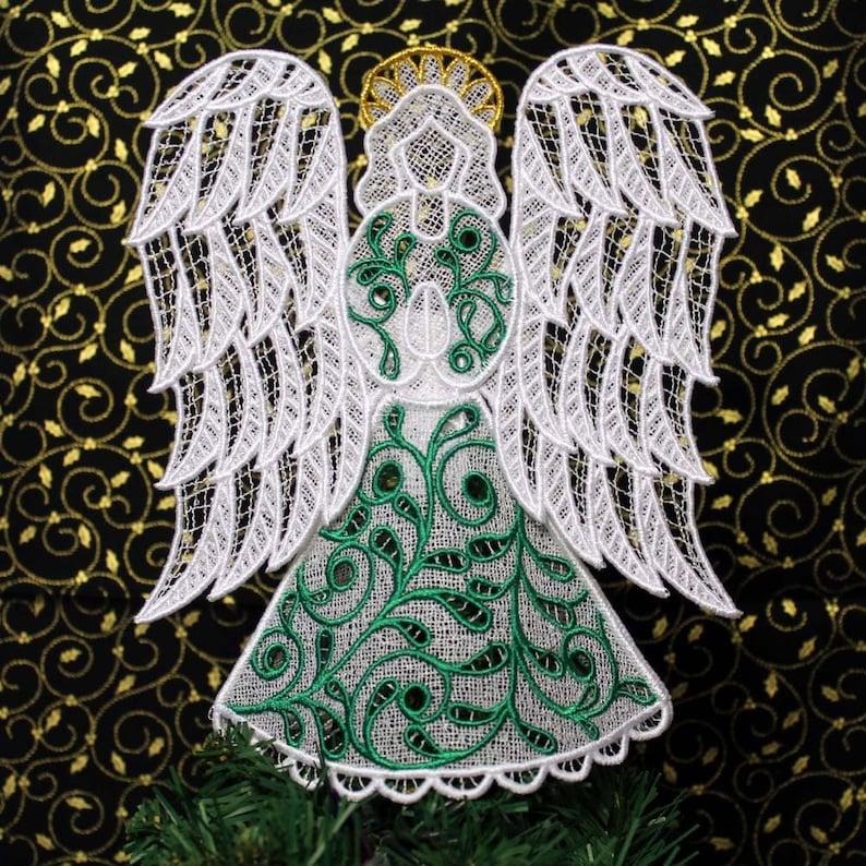 Emerald Irish Lace Angel Tree Topper image 0