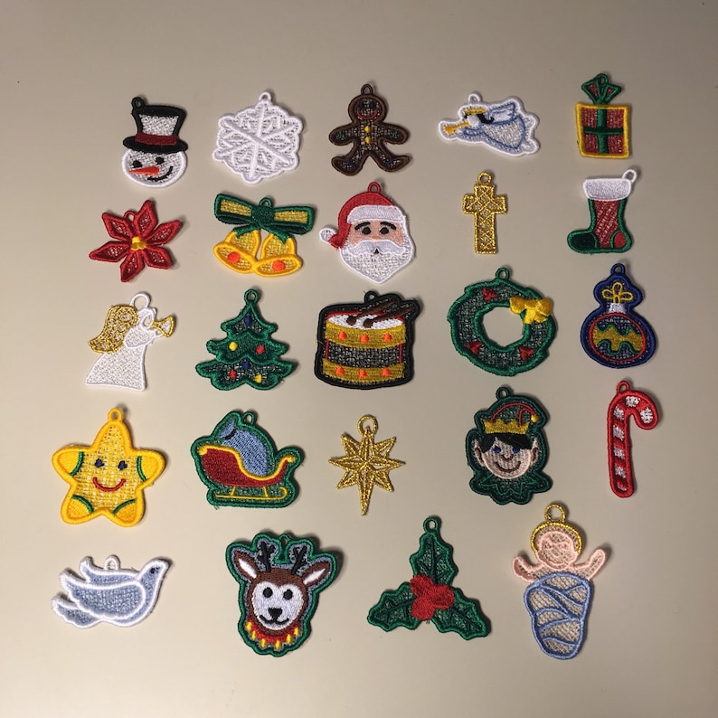 Set of 24 Christmas Miniature Advent Ornaments with Baby Jesus image 0