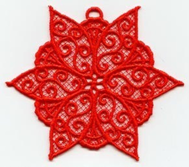 Red Poinsettia Lace Ornament image 0