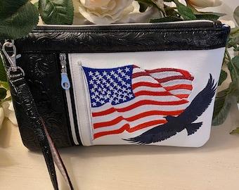 Embroidered USA Zippy Clutch
