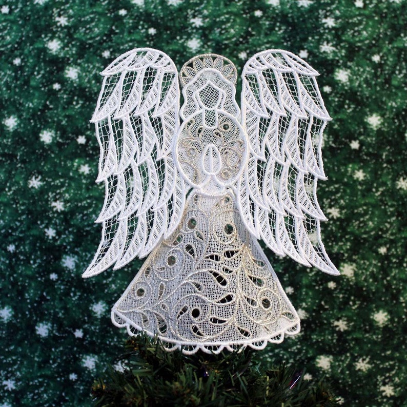 Silver Trimmed Victorian Lace Angel Tree Topper image 0