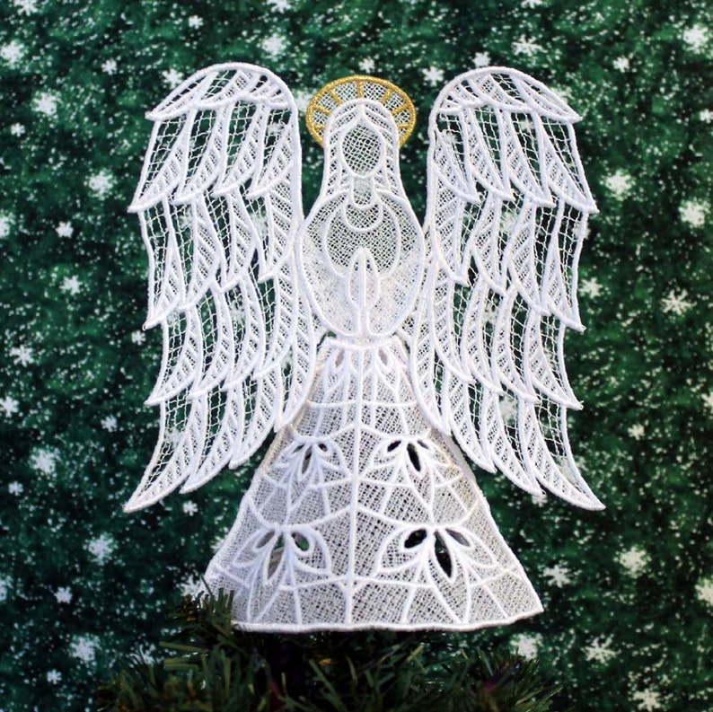 Joy Lace Angel Tree Topper With Gold Halo image 0