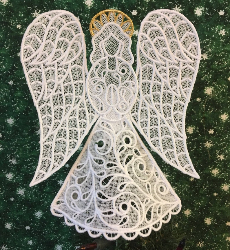 Hope Lace Angel Tree Topper with Gold Halo image 0