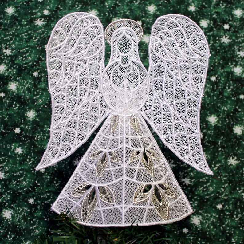 Silver Trimmed Heather Lace Angel Tree Topper image 0