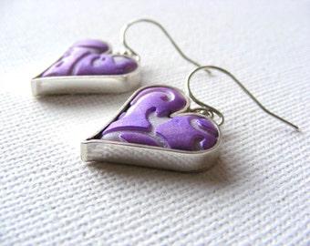 Sterling Silver & Clay Heart Earrings