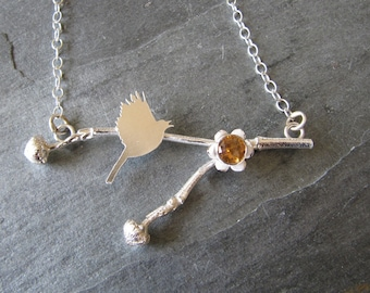 Silver Necklace with Dogwood Twig, Citrine, and Bird