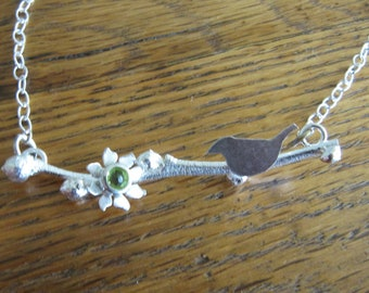 Handmade Necklace of Blueberry Twig, Peridot, and Bird in Sterling Silver