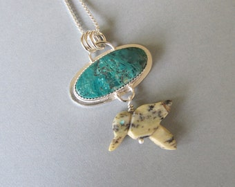 Pendant of Turquoise and Silver with Bird