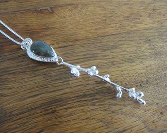 Pendant of Labradorite and Silver Cherry Blossom