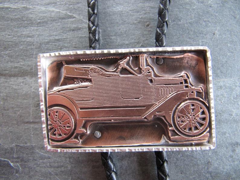 Vintage Letterpress Motorcar Bolo Tie in Sterling Silver