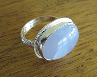 Silver and Blue Chalcedony Ring