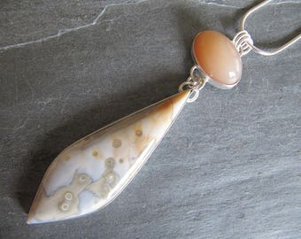 Pendant of Ocean Jasper and Peach Moonstone in Sterling Silver with Bird