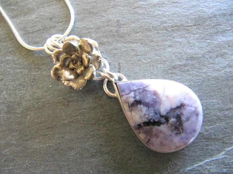c097e1824 Bertrandite Tiffany Stone and Sedum Pendant in Sterling   Etsy