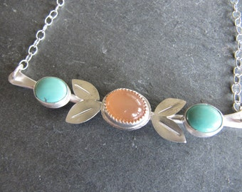 Unique Necklace of Turquoise, Moonstone, and Sterling silver