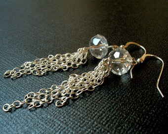Clear Glass Rondelle Chained Earrings Sterling Silver Sparkly Earrings